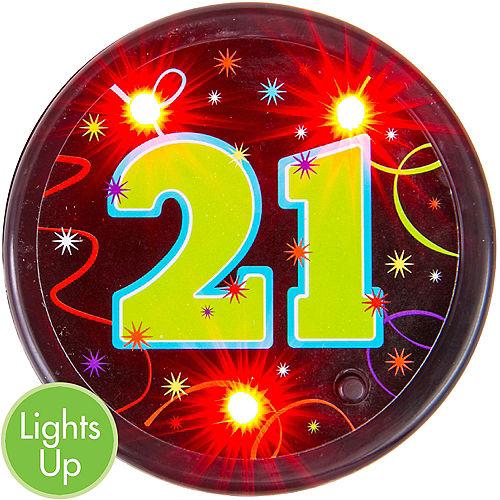 Light Up Brilliant 21st Birthday Button