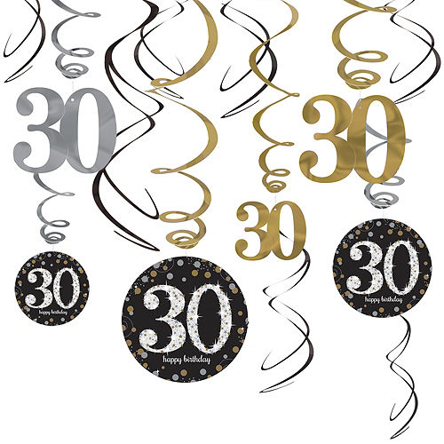 30th Birthday Swirl Decorations 12ct