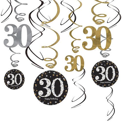 30th Birthday Swirl Decorations 12ct