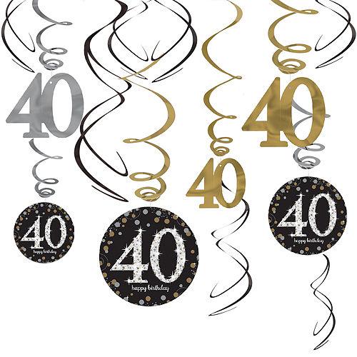 40th Birthday Swirl Decorations 12ct