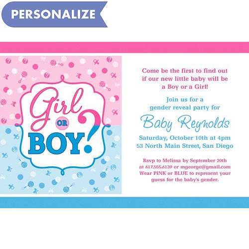 Custom baby shower invitations baby shower invites party city custom girl or boy gender reveal invitation filmwisefo