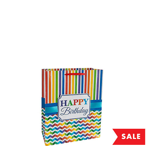 Glitter Rainbow Chevron Birthday Gift Bag
