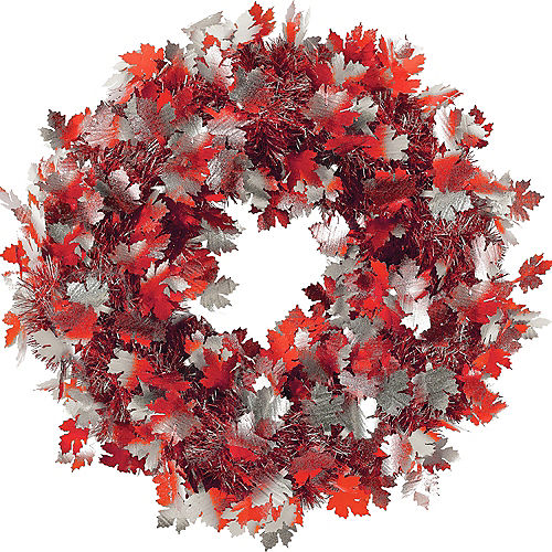 Fall Leaves Tinsel Wreath - Outdoor Thanksgiving Decorations & Yard Decor Party City