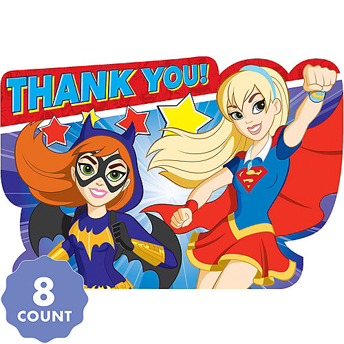 Superhero Birthday Invitations DC Super Hero Girls Thank You Notes 8ct