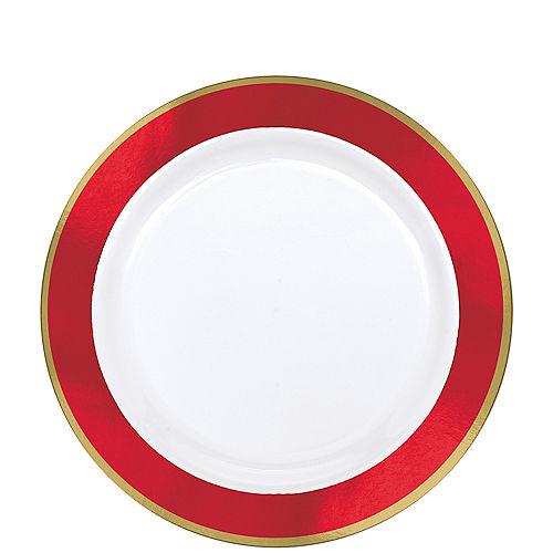 Gold & Red Border Premium Plastic Lunch Plates 10ct