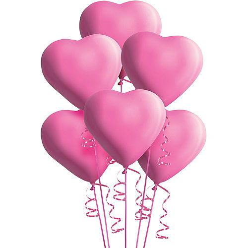 Pink Heart Balloons 6ct