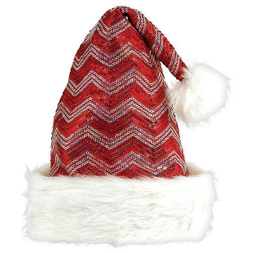030217a7a21e1 Sequin Red   White Chevron Santa Hat