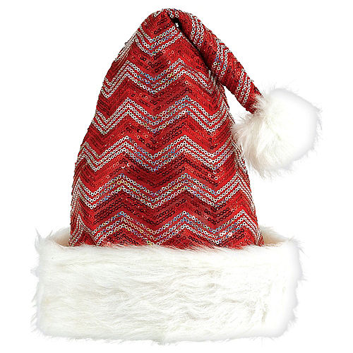 02adc41172706 Sequin Red   White Chevron Santa Hat