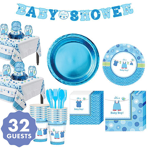 Boy Baby Shower Tableware Kit With Love 32 Guests