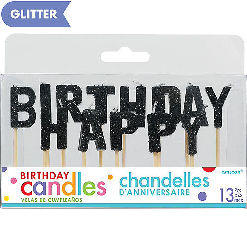 Glitter Black Happy Birthday Toothpick Candle Set 13pc