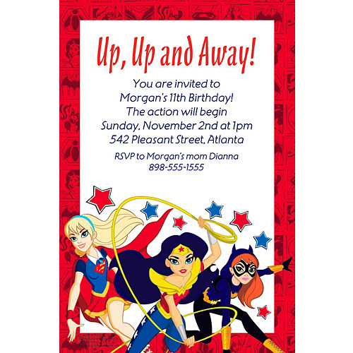 Custom DC Super Hero Girls Invitation