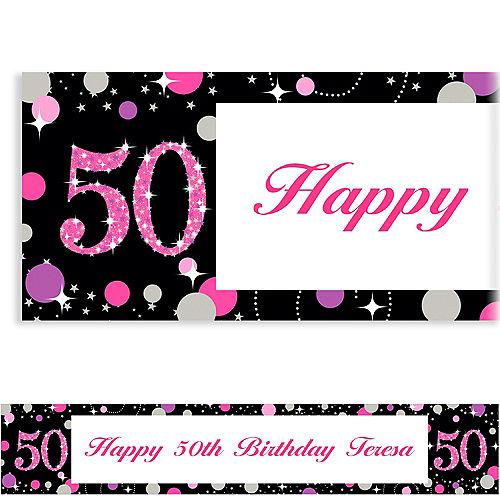 Custom Pink Sparkling Celebration 50 Banner