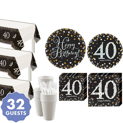 Sparkling Celebration 40th Birthday Party Kit For 32 Guests