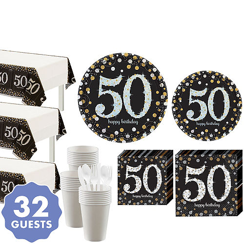 Sparkling Celebration 50th Birthday Party Kit For 32 Guests