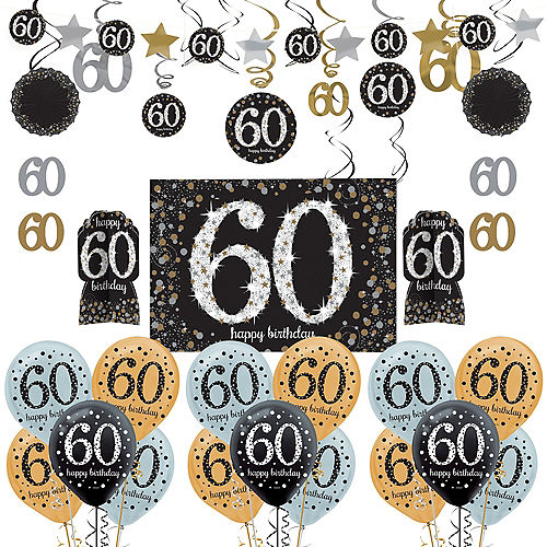 Sparkling Celebration 60th Birthday Decorating Kit With Balloons