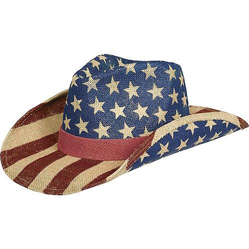 ffcd1e2c1e083 Burlap Patriotic American Flag Cowboy Hat