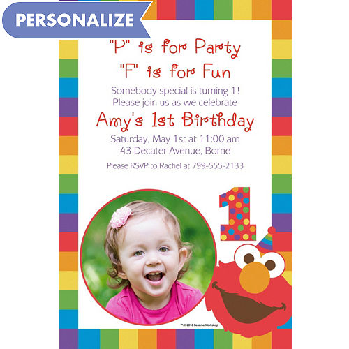 Custom Elmo 1st Birthday Photo Invitation