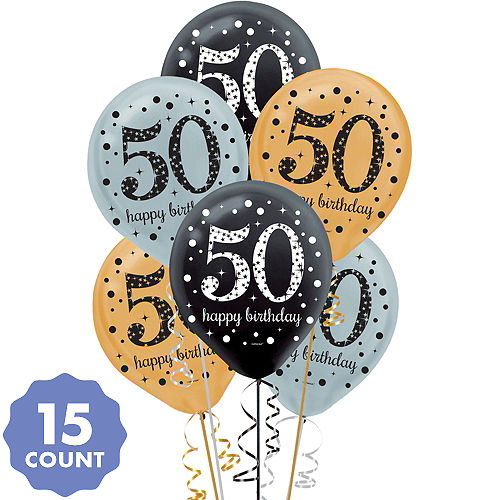 50th Birthday Balloons 15ct