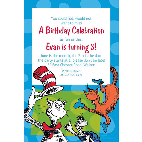 Custom Dr Seuss Invitation
