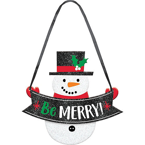 mini glitter snowman sign - Mr Christmas Outdoor Decorations