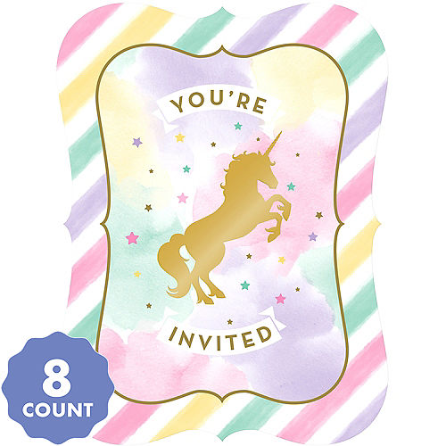 Sparkling Unicorn Invitations 8ct