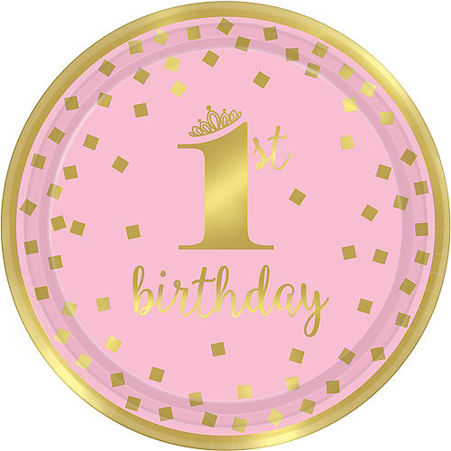 Metallic Pink Gold Confetti 1st Birthday Lunch Plates 8ct