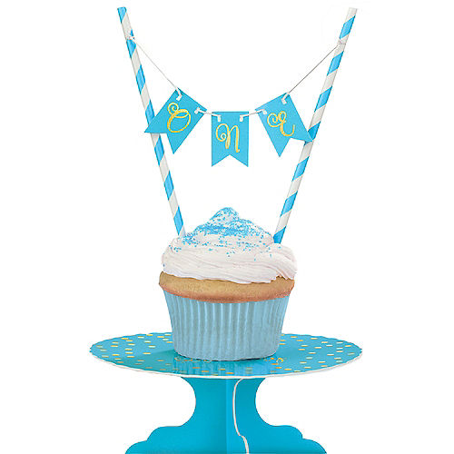 Mini Blue 1st Birthday Cake Stand Kit 2pc