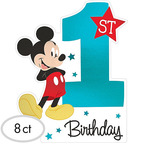 Premium 1st Birthday Mickey Mouse Invitations 8ct