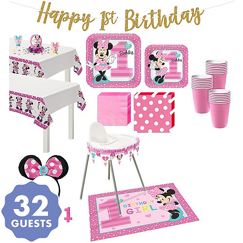 1st Birthday Minnie Mouse Deluxe Party Kit For 32 Guests
