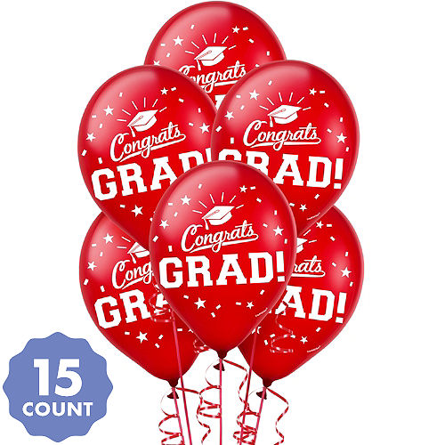 Red Congrats Grad Balloons 15ct