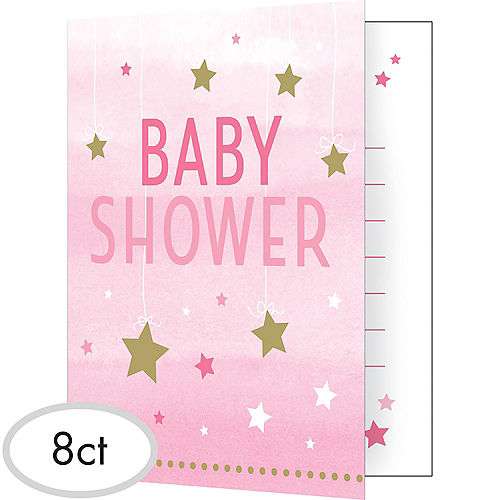 Baby shower invitations printable baby shower invitations party city pink twinkle twinkle little star baby shower invitations 8ct filmwisefo