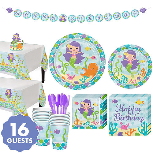 Mermaid Tableware Kit For 16 Guests