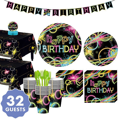 Neon Party Tableware Kit For 32 Guests