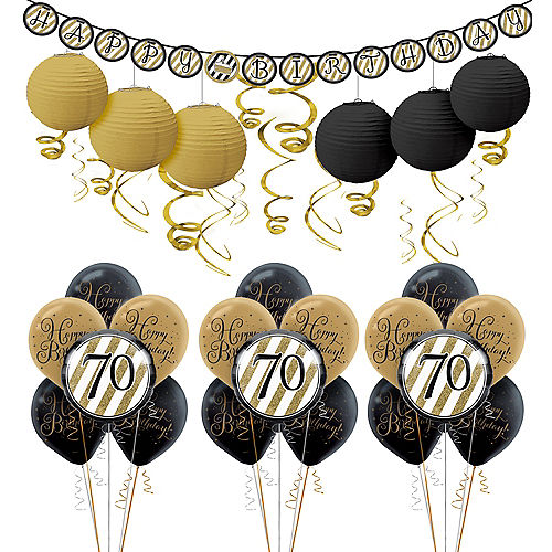 White Gold 70th Birthday Decorating Kit With Balloons