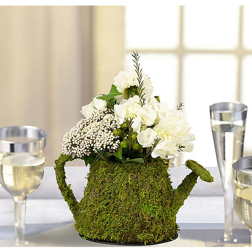 Wedding centerpieces wedding table decorations party city moss watering can decoration junglespirit Choice Image