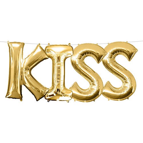 air filled gold kiss letter balloon kit