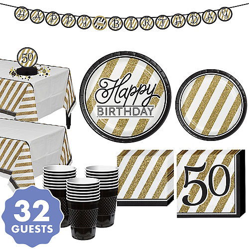 White Gold Striped 50th Birthday Party Kit For 32 Guests