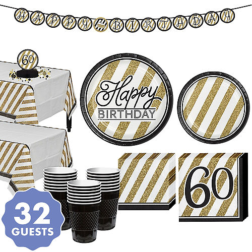 White Gold Striped 60th Birthday Party Kit For 32 Guests