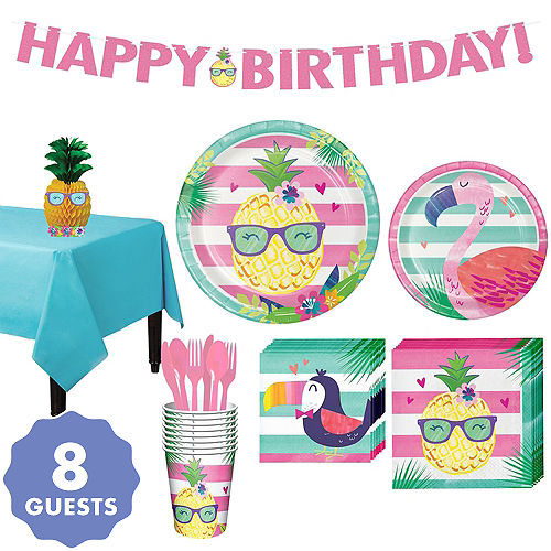 Striped Tropical Basic Party Kit For 8 Guests