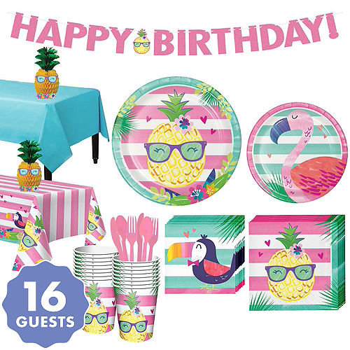 Striped Tropical Basic Party Kit For 16 Guests