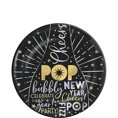 metallic black gold silver new years eve platter