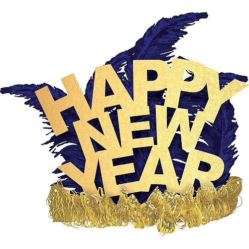 blue gold happy new year feather tiara