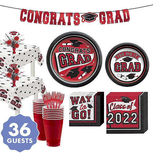 Congrats Grad Red Graduation Party Kit for 36 Guests