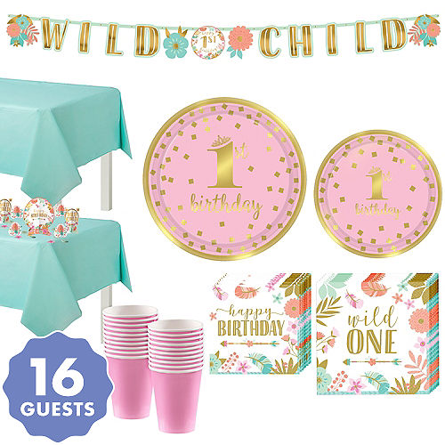 Boho Girl 1st Birthday Party Kit For 16 Guests