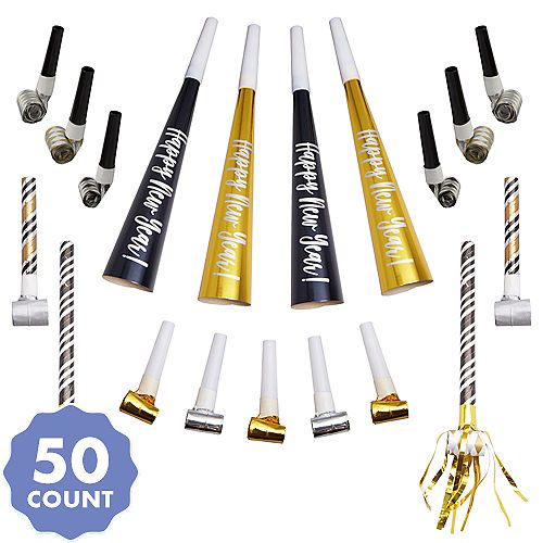 black gold silver new years eve party horns blowouts 50pc