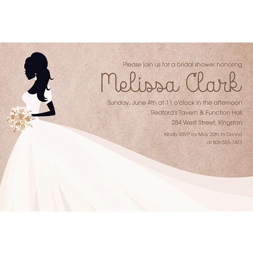 custom bride silhouette with train invitations