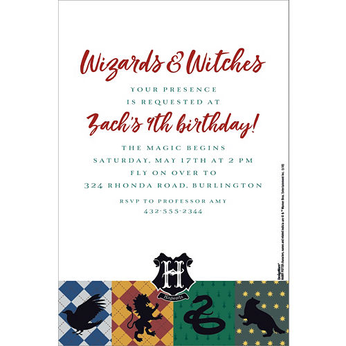Birthday invitations custom birthday party invites party city custom harry potter invitations filmwisefo