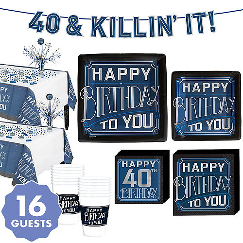 Vintage Happy Birthday 40th Party Kit For 16 Guests