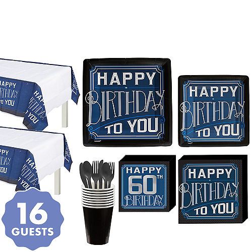 Vintage Happy Birthday 60th Party Kit For 16 Guests