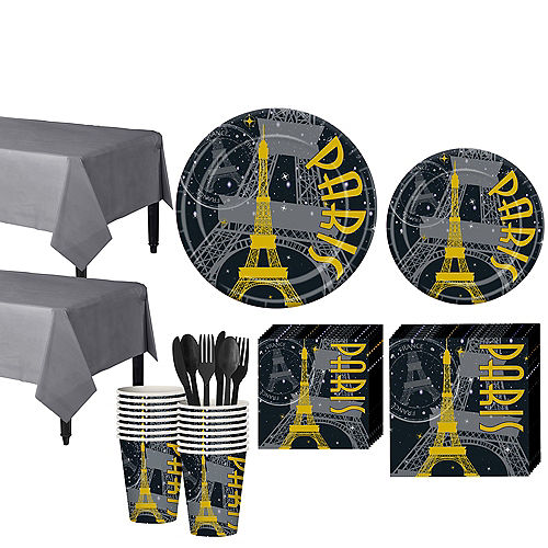 Black Gold Paris Tableware Kit For 16 Guests